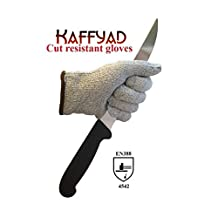 Kaffyad Level 5 Cut Resistant Kitchen or Work Safety Gloves. Protection from Knives, Mandolines and Graters - Best for cutting meat, filleting fish or shucking oysters - Lightweight, Flexible and Food Safe. (Extra Large, 2 gloves (1 pair))