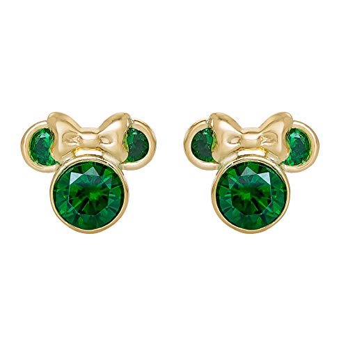 Disney Minnie Mouse 10K Gold Birthstone Stud Earrings, May Green Cubic Zirconia; Mickey's 90th Birthday Anniversary