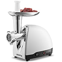 Gourmia GMG525 Meat Grinder with 3 Stainless Steel Grinding Plates 500 Watts ETL Approved 1000 Watts Maximum and Bonus Accessories Includes Sausage Horn & Free E-Recipe Book Included - 110/120V