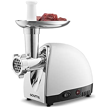 Gourmia GMG525 Meat Grinder with 3 Stainless Steel Grinding Plates 500 Watts ETL Approved 1000 Watts Maximum and Bonus Accessories Includes Sausage Horn & Free Recipe Book Included - 110/120V