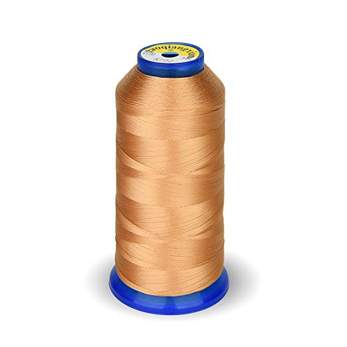High Strength Polyester Thread Sewing Thread 1800 Yard Size T70#69 210D/3 for Weaves, Upholstery, Jeans and Weaving Hair, Drapery, Beading, Purses, Leather (Tan)
