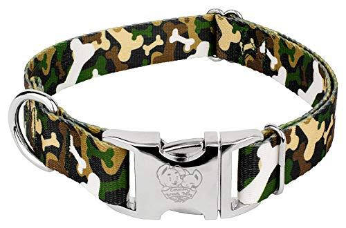- Country Brook Petz | Premium Woodland Bone Camo Dog Collar - Large