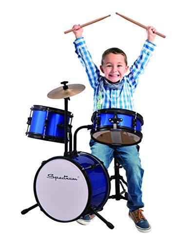 Spectrum AIL 610B 3-Piece Junior Drum Kit with Crash Cymbal & Drum Throne, Blazin' Blue