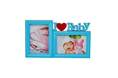 I KT I Love Baby Photo Frame Collage For Two Pictures Sizes 6x4 and 4x6 inches (Blue)