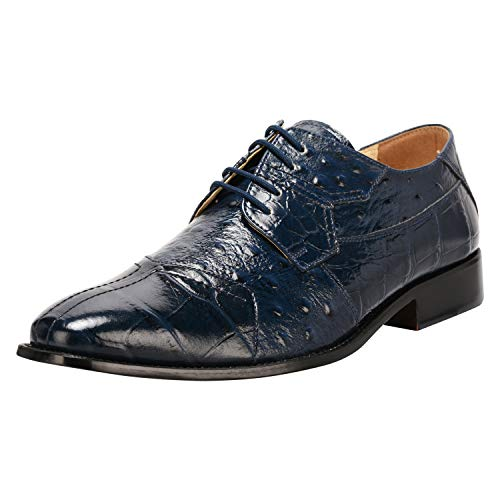 Liberty Men's Croco Ostrich Print PU Synthetic Leather Lace Up Dress Shoes Navy