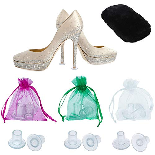High Heel Protectors by MEGON - Heels Stopper for Women's Shoes, 6 pairs Small/Medium/Large - Perfect for Weddings, Races, Formal Occasions - Protecting from Grass, Gravel, Bricks & ()