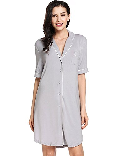 Sweetnight Women Nightgown Short Sleeve Sleepshirt Front Pocket Nightdress(XXL, Gray)