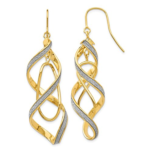 ICE CARATS 14kt Yellow Gold Glitter Infused Spiral Drop Dangle Chandelier Earrings Earring Fine Jewelry Ideal Gifts For Women Gift Set From Heart 14k Yellow Gold Spiral Drop