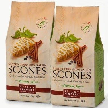 Sticky Fingers Glazed Scone Premium Mix (2-Pack) (Glazed Cinnamon Raisin) (Scone Raisin)
