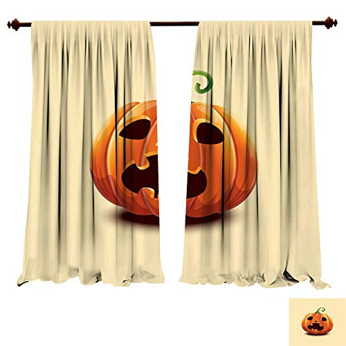 (DragonBuildingMaterials Panels Sun Blocking Curtains Realistic Vector Halloween Pumpkin Scared face Halloween Pumpkin Isolated on Light Background Bedroom Living Room Modern)