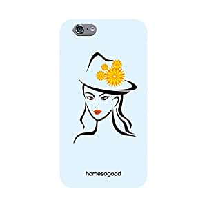 HomeSoGood Girl With Fashionable Flower Cap Yellow 3D Mobile Case For iPhone 6 (Back Cover)