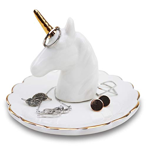 Mono Living Unicorn Jewelry Dish Ring Holder Tower Earring Tray Ceramic Organizer Necklace Bracelet Home Décor Birthday Housewarming Gift for Her Mother Girlfriend Teen Girl Aunt Women Daughter Sister (Living Dresser Decor Room)