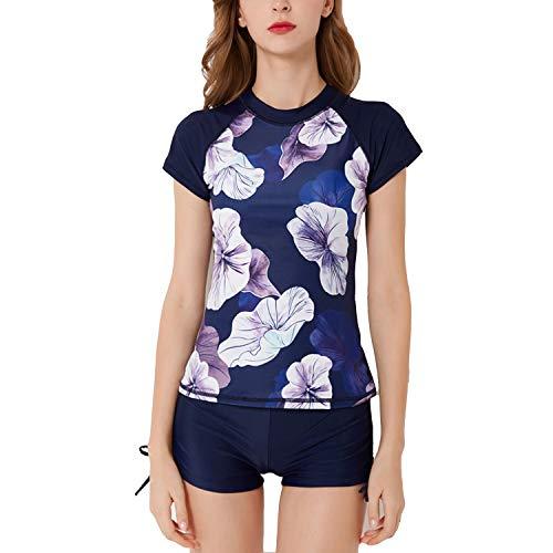 (SWSMCLT Women's 2 Piece Tankini Floral Printed Zipper Front Boyshort Swimsuit Bathing Suit Style2 US 4/6 (Tag L))