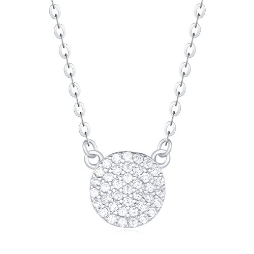 "Carleen 18K White Gold Plated 925 Sterling Silver Round CZ Cubic Zirconia Paved Round Dainty Pendant Necklace for Women Girls 16+2"" Extender Silver Chain"