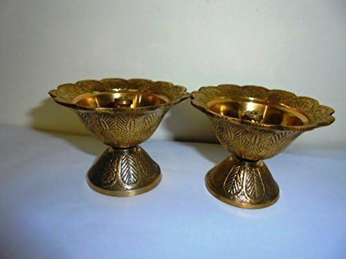 Artcollectibles India 2 Brass Diya Deepak Akhand Jyot Kuber FOR Hindu Temple Havan Puja Religious Oil Lamp