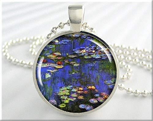 Death Devil Art Picture Necklace,Monet Art Pendant, Vintage Art Necklace, Claude Monet Water Lilies Pendant, Resin Art Charm, Monet Art Necklace, Round Silver ,Gift of Love ()