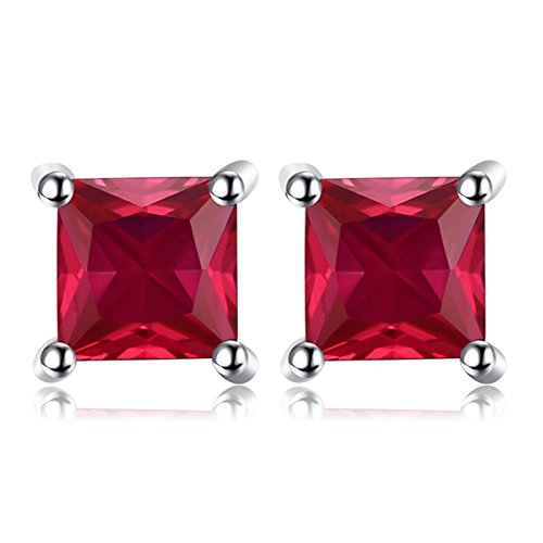 jewelrypalace 0.86ct colombe sang rouge taille Princesse neuf Place synthétique Rubis Saphir émeraude Boucles d'oreilles Femme Argent 925 EU-12866CJE