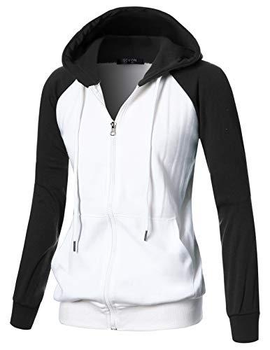 GIVON Womens Comfortable Long Sleeve Lightweight Raglan Zip-up Hoodie with Kanga Pocket/DCF018-BLACK-2XL