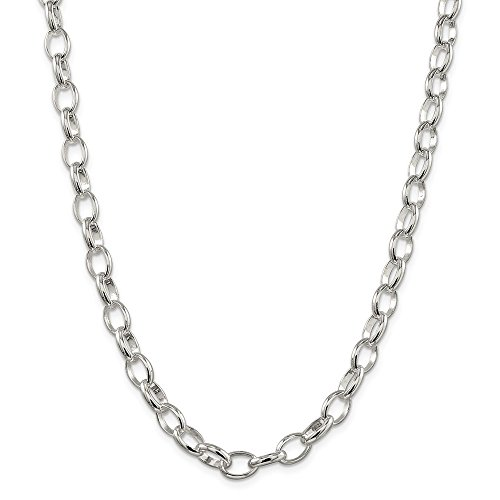 (Solid 925 Sterling Silver 8mm Rolo Chain Necklace 18