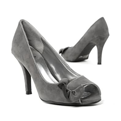 Qupid Women's Shoes Med High Heel Open Toe Ruffle Pump, Gray Faux Suede, 10 M US