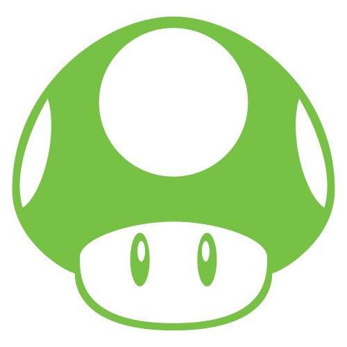 Super Mario Brothers Mushroom Decal Nitrous Kart Sticker Lime Green