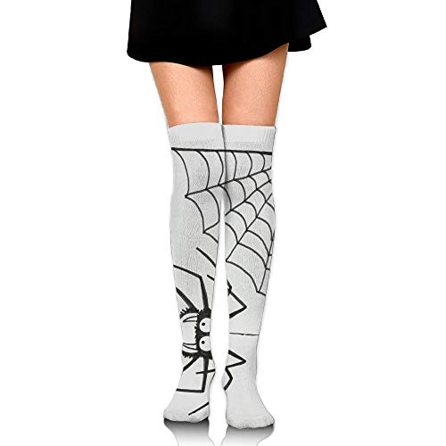 RobotDayUpUP Halloween Spider Web Womens Long Socks,Cool Girls Skirt Stockings Knee Thigh Socks for Running Soccer Sports Dance Yoga Cycling Hiking Outdoor ()