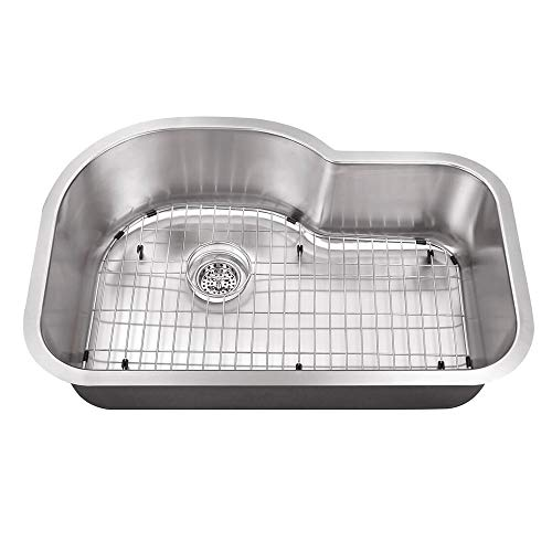 Cahaba CA122632 Eurostyle 31-1/2 x 21-1/8 18 Gauge Stainless Steel Single Bowl Euro style Kitchen Sink with Grid Set and Drain ()