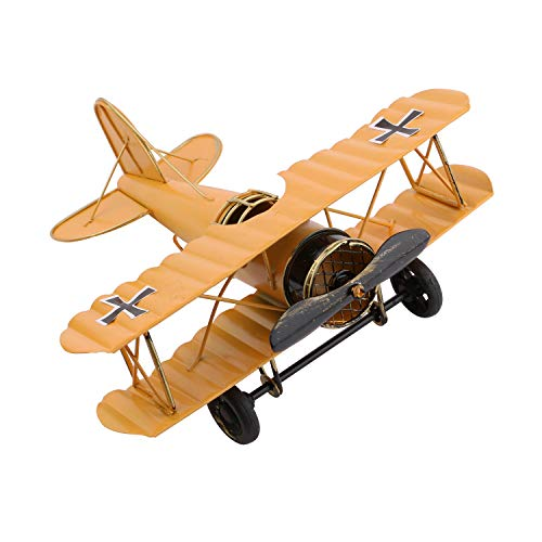 Dedoot Vintage Airplane Model Decorative Airplane Decor Wrought Iron Aircraft Biplane for Photo Props, Christmas Ornament, Desktop Decoration, Yellow ()
