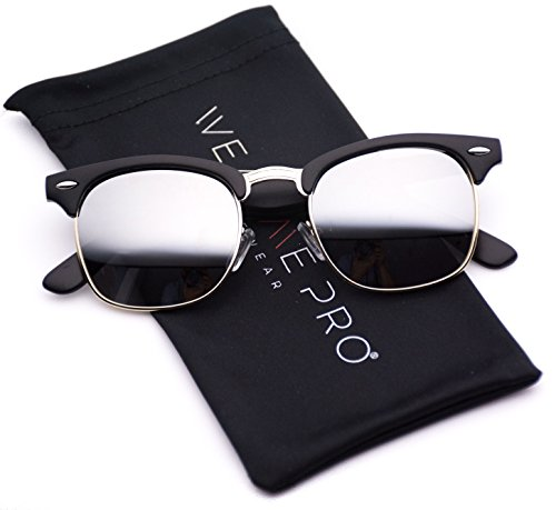 WearMe Pro - Clubmaster Style Sunglasses Retro Mirror Lens Sunglasses (Black / Mirrored Silver, 48)
