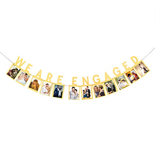 We Are Engaged Photo Banner,Wedding Engaged,Bridal Shower, Bachelor Party Decoration Supplies, Gold