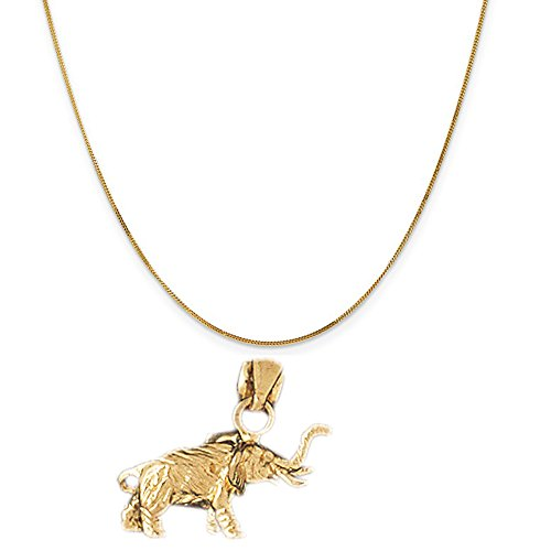 14k Yellow Gold 3-D Elephant Pendant on a 14K Yellow Gold Curb Chain Necklace, 16'' by Eaton Creek Collection