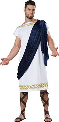 Greek Male Costumes (California Costumes Men's Grecian Toga, White/Navy, Large)