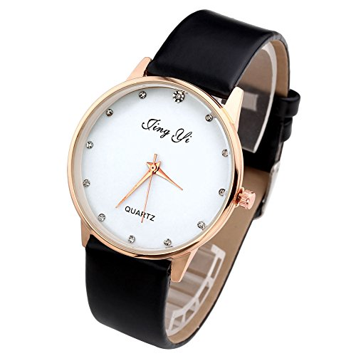 Top Plaza Women's Fashion Simple Watch, Black PU Leather Band, Gold Tone Case, White Face