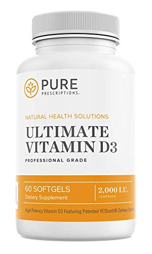 Pure Prescriptions Ultimate Vitamin D3 - 2000 IU - High Absorption Vitamin D Supplement to Promote Healthy Bones with Immune System & Cardiovascular Support - 60 Softgels - USA Made