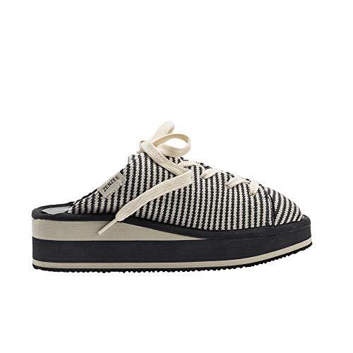 Zenzee Grey Stripe Prepster-Comfy Platform Slip On Sneaker -Fun Knit Fashion-Perfect for Indoor/Outdoor Wear