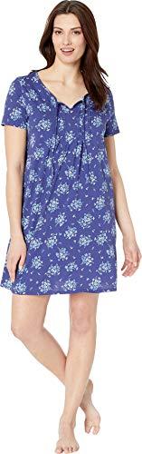 Carole Hochman Women's Short Nightgown, Navy Floral Bunches, M