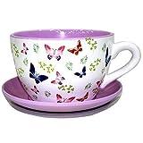 Decorative Novelty Terracotta Tea Cup and Saucer Shaped Garden Patio Flower Planter Plant Pot Tub (Large Butterfly Butterflies)