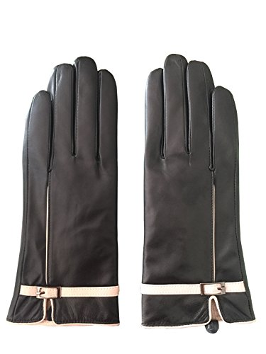 MarSue Women's Luxury Ethiopian Lambskin Leather Winter Gloves with Cashmere Lining Full-Hand Touchscreen, Black, Large
