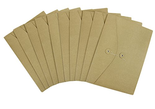 A4 Kraft File Bag Brown Paper Document Portfolio Pocket Organizer Folder Envelope with String & Button Closure Pack 10
