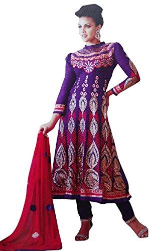 Designer Blue Anarkali Salwaar Kameez Unstitched Embroidered Ethnic Suit Indian