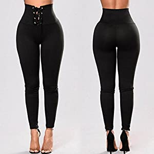 Auwer Women's Sports Yoga Workout Gym Fitness Leggings Pants Leggings High Waist Stretch Trousers Athletic Clothes (Black, L)