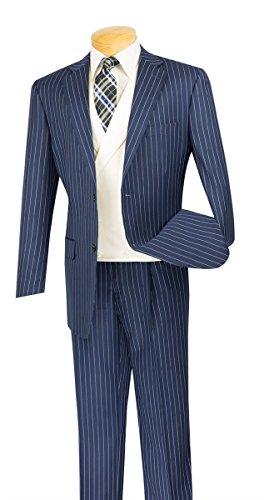 SUITS OUTLETS Classic Fit Men's Suit With Vest Banker Stripe (Stripe Wool Vest)