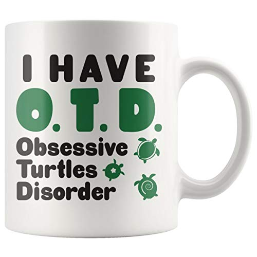 ArtsyMod OTD OBSESSIVE TURTLES DISORDER Premium Coffee Mug, PERFECT FUN GIFT for the Sea Turtles Lover! Attractive Durable White Ceramic Mug (11oz, Black/Green Print)