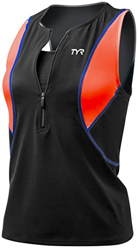 TYR Women's Competitor Loose Tri Singlet with Bra (Black/Coral Blue, Small) (Triathlon Bra Top)