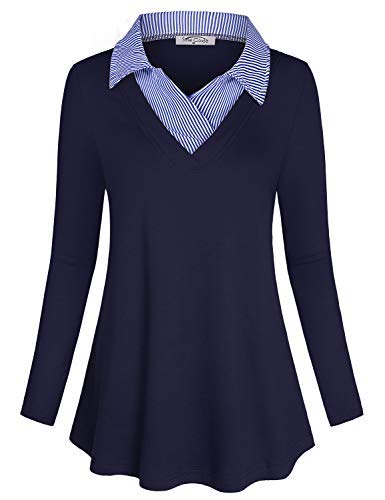 SeSe Code V Neck Shirts for Women,Ladies Blouses and Tops for Work Modern Beautiful Trendy Polo Collar Patchwork Knitted Stretchy Casual Wear Navy Blue XXLarge