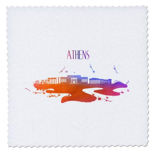 3dRose Sven Herkenrath City - Watercolor Skyline of Athen Greece Travel Tourism - 12x12 inch quilt square (qs_311015_4)