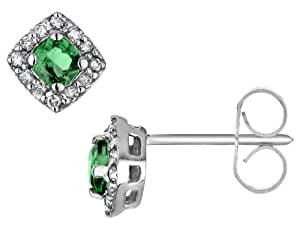 Emerald Earrings with Diamonds in 10K White Gold