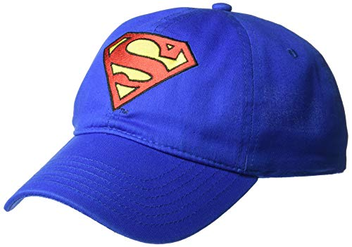 DC Comics Men's Superman Baseball Cap, Royal Blue/Embroidered, One Size