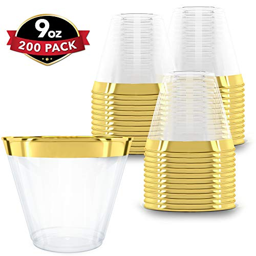 Clear Plastic Cups With Gold Rim | 9 oz. - 200 Pack | Hard Disposable Cups | Plastic Wine Cups | Plastic Cocktail Glasses | Plastic Drinking Cups | Bulk Party Cups | Wedding Tumblers (Glasses Cocktail Plastic Large)