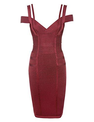Bandage À L'épaule De La Femme Maketina Longueur Genou Robe De Rayonne Vin Robe De Soirée Club Rouge Moulante